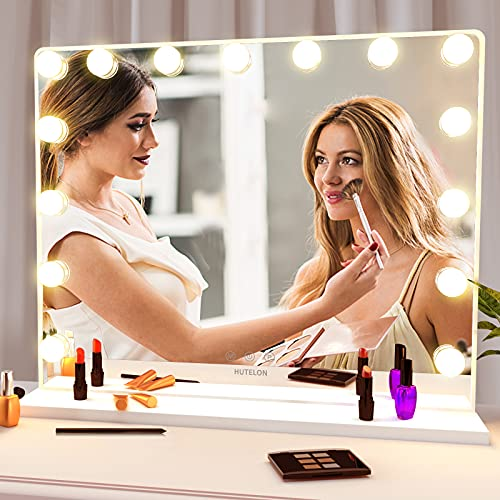 Hutelon Vanity Mirror Makeup Mirror with Lights,Large Hollywood Lighted Makeup Mirror with 15 Dimmable LED Bulbs,3 Color Modes,Touch Control for Dressing Room,Bedroom,Tabletop or Wall-Mounted