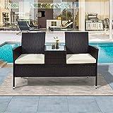 ZOEON Polyrattan Gartenbank Gartensofa Wetterfest Sitzbank mit Tisch & Kissen 2-Sitzer Stahl inkl. 5cm Auflagen (Braun)