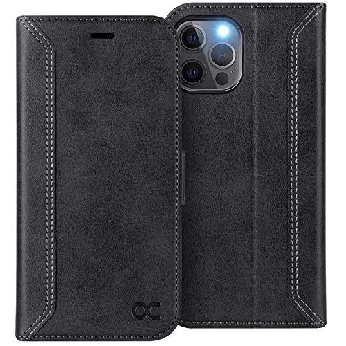 OCASE Retro Hülle iPhone 12 Pro MAX, Handyhülle Tasche PU Leder Flip Cover Brieftasche Etui RFID Schutzhülle Klapphülle Kompatibel für iPhone 12 Pro MAX 5G 6,7 Zoll Schwarz