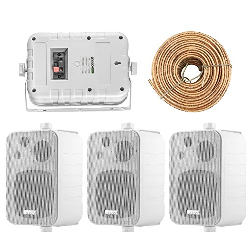 4X Speakers Bundle Package: 2 Pairs of Enrock Audio EKMR408W 4-Inch 200 Watts White 3-Way Indoor/Outdoor Marine Boat Box-Speaker Combo with 50 Foot 18 Guage Speaker Wire