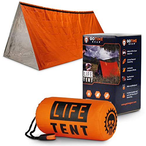 Life Tent Emergency Survival Shelter – 2 Person Emergency Tent – Use As Survival Tent, Emergency Shelter, Tube Tent, Survival Tarp - Includes Survival Whistle & Paracord (Orange)