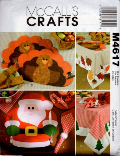 McCall's Sewing Pattern M4617 Holiday Table Settings - Turkey and Santa Placemats, Leaves or Christmas Tree Tablecloths