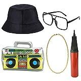 DECARETA Disfraz de hip hop, para hombre de los años 80 y 90, accesorio raper, traje inflable, boom box, cubo, sombrero, gafas de sol, cadena dorada para fiesta temática decoración