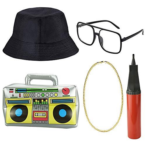 DECARETA Hip Hop Costume Kit,Inflatable Boom Box with Black Bucket Hat,Sunglasses,Gold Chain Ring and Air Pump Inflator,80s/90s Rapper Accessories Fancy Dress for Man and Women