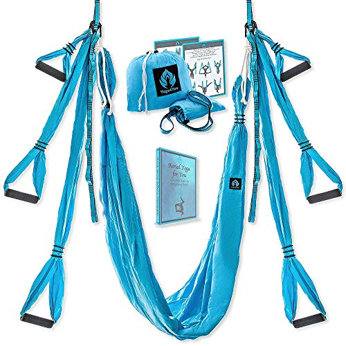 Yoga4You Aerial Yoga Swing Set  Yoga Hammock Swing  Trapeze Yoga Kit  2 Extension Straps  Wide Flying Yoga Inversion Tool  Antigravity Ceiling Hanging Yoga Sling  Adult Kids Arial Toga Blue