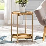 Mesa auxiliar redonda dorada, bandeja extraíble de metal, mesita de noche plegable para espacios pequeños