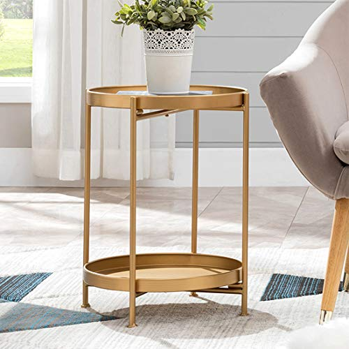 "Small Round Table Metal Tray Side Table with Storage Gold Modern Nightstand for Living Room Bedroom14""Dx20""H"