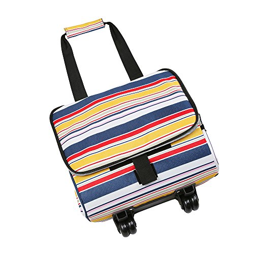 Picnic Trolley Cool Bag Includes 2 Freezer Cool Packs and 2 Bottle ice Coolers. Large- 28 Litre (Wheeled Stripe)