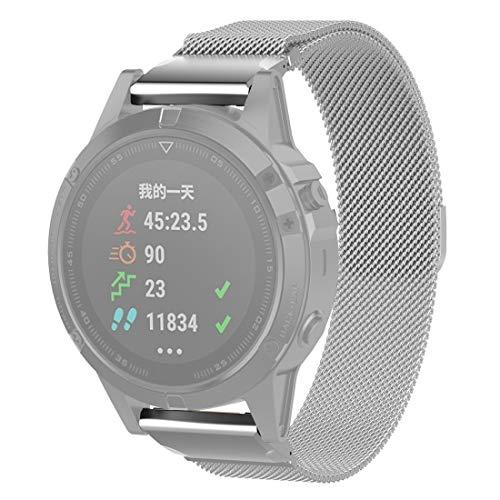 LPER Reloj de repuesto de correa de reloj para Garmin Fenix 6S Milanese Strap Watch Band (negro) (color: plata)