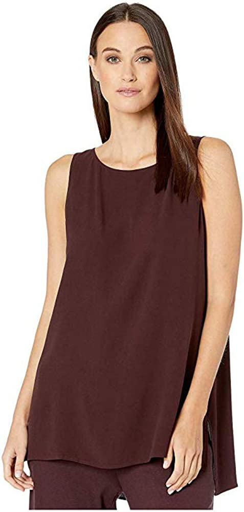 Eileen Fisher Claret Stretch Silk Charmeuse Round Neck Long Shell S M L XL