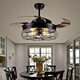 Ventilatore a soffitto con illuminazione e telecomando Ventilatore industriale da 42 pollici illuminazione retrattile lampadario industriale E27 * 5 per camera da letto soggiorno sala da pranzo