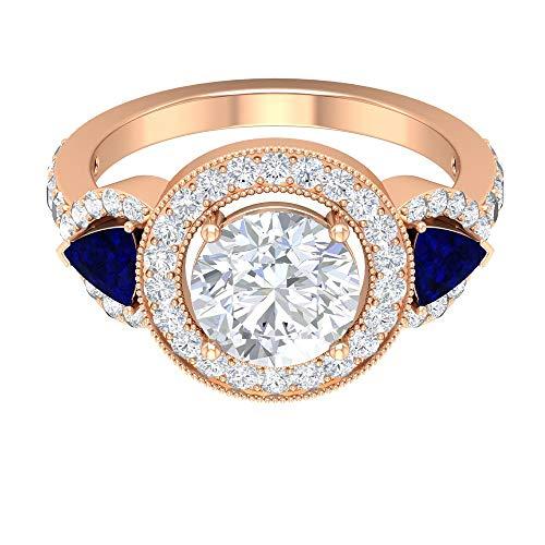 Anillo vintage de moissanita de 3,75 quilates con zafiro azul creado en laboratorio, anillo de halo de tres piedras (8 mm redondo brillante moissanita), oro rosa de 14 quilates, tamaño: UK Z+1