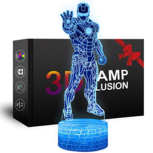 LED Superhero 3D Night Light, XXMANX Optical Illusion Lamp 7 Colors Changeable USB Powered Touch Control with Crack Base Bedside Lamp for Boys Girls Kids Gifts (Iron Man Type 1)