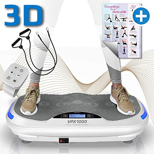 KINETIC SPORTS 3D Vibrationsplatte VPX1000 VITAL TRAINER ERGO +2 leistungsstarke Motoren +Intuitiv +Curved Design +gelenkschonend +Bluetooth 4.0 Lautsprecher +Fernbedienung +Vibration Oszillation Weiß