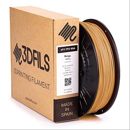 3DFILS - Filamento flexible para impresión 3D eFil TPU 90A: 1.75 mm, 500 g, Marrón Beige