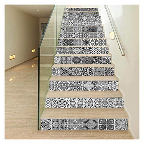 WENYOG Escaleras Pegatinas 13 unids 3D Cerámica Azulejo Escalera Etiqueta de Calcomanía Mural Dormitorio, Café, Restaurante Decoración del hogar