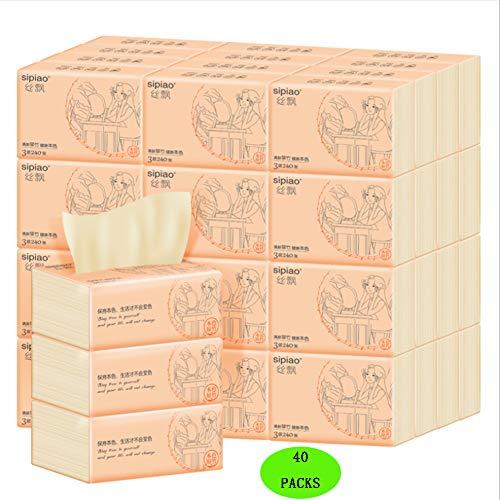 GOLDEN MANGO Toilettes des Ménages De Papier À Trois Couches Épaissie Portable en Bambou Pâte À Papier Tissu, Convient pour Les Mères Et Les Bébés, Total 40 Paquets.