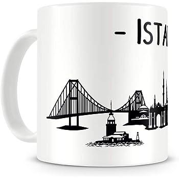 Samunshi® Istanbul Skyline Tasse Kaffeetasse Teetasse H:95mm/D:82mm weiß
