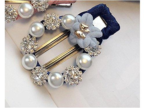 Belle pince à cheveux Strass pince à cheveux fleur épingle à cheveux perle pince à cheveux noeud papillon cheveux accessoires pour femmes (bleu marine)