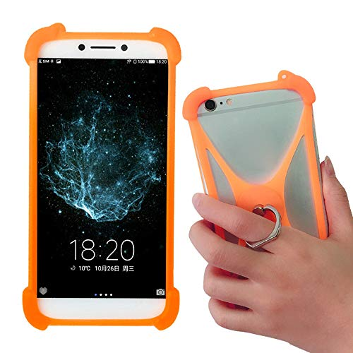Universal Soft Silicone Orange Case for Samsung Galaxy Galaxy J7, Galaxy S10 S9 S7/ S6/ S5 Active Phone Stand Ring Holder Case Cover for Motorola Moto G7 Alcatel OneTouch Idol 3 Huawei Ascend Mate 2