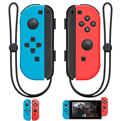 SINGLAND Joy Con Wireless Controller Replacement for Switch, Left&Right Remote with Wrist Strap Support Wake-up Function (Red and Blue)