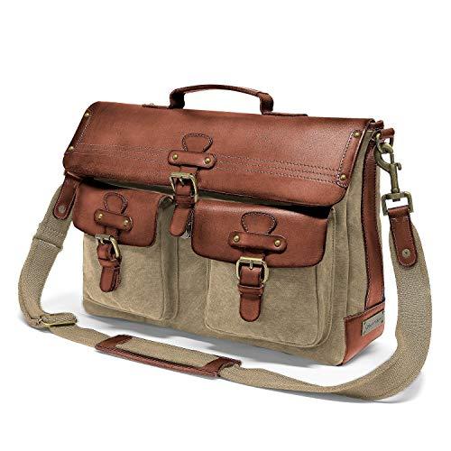 DRAKENSBERG Messenger Bag – schoudertas en 15″ laptoptas voor heren in retro-vintage-design, handgemaakt in premium kwaliteit, 15L, canvas en leer, kaki-beige, bruin, DR00101