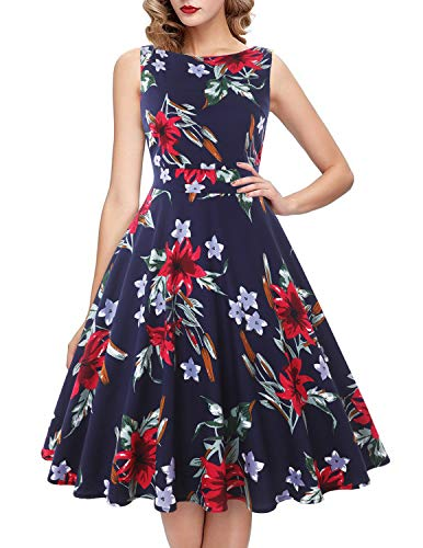 IHOT Vintage Tea Dress 1950's Floral Spring Garden Retro Swing Prom Party Cocktail Party Dress for Women