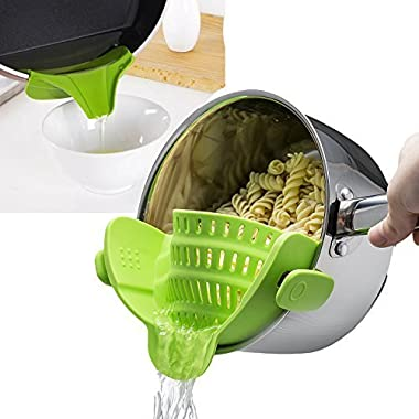 Snap'N Silicone Clip-on Strainer Colander, Plus Soup Funnel for Pan Universal Size FDA Grade Material/Heat resistant