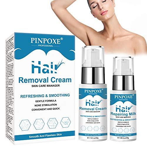 Hair Removal Cream, Depilatory Cream Kit, Permanent Depilatory, Painless Flawless Fast for Body Underarms Legs Bikini Area Skin Hair Remover Cream, Friendly Hair Remover Body Cream for Women and Men