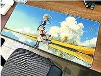 マウスパッドバイオレットエバーガーデンアニメマウスパッドコンピューターマットゲーミングマウスパッドラージマウスパッド愛らしいキーボードゲームPCゲーマーデスクマット-70x40cm