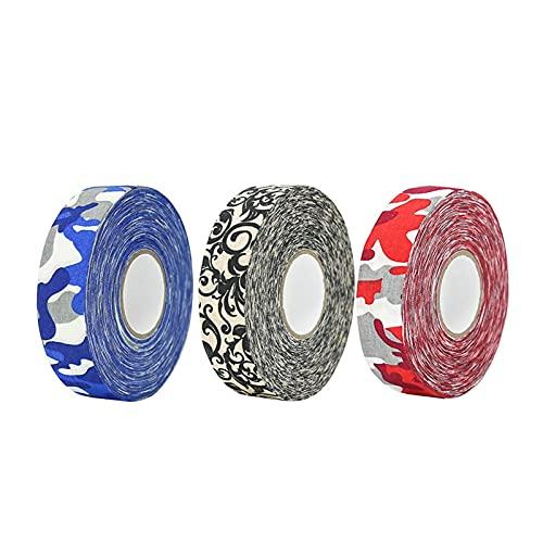 Cinta de hockey 3 piezas de cinta de patrón de camuflaje, cinta de hockey sobre hielo colorido, habilidades antideslizantes de alta viscosidad, cinta de hockey sobre hielo, tatuaje de flores cinta de
