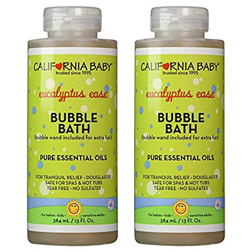California Baby Eucalyptus Bubble Bath | No Tear | Pure Essential Oils for Bathing | Hot Tubs, or Spa Use | Moisturizing Organic Aloe Vera and Calendula Extract |(13 fl. ounces) 2 Pack