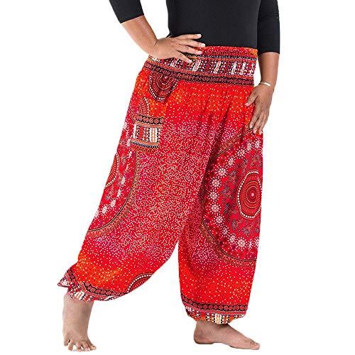 Nuofengkudu Herren Damen Lockere Hippie Hosen Haremshose Große Größen Boho Bbunte Pumphosen Stoffhose Indische Yogahosen Leichte Sommerhose (Rot Floral,One Size)