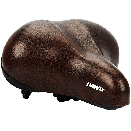 DAWAY Oversized Comfortable Bike Seat - C20 Soft Foam Padded Wide Leather Bicycle Saddle Cushion Men Women Seniors, Fit Cruiser, Spin, Exercise Bikes & Outdoor Cycling, Brown