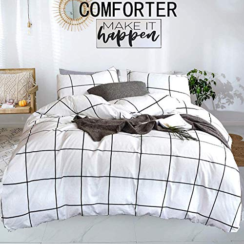 karever White Comforter Set Big Grid Plaid Pattern Printed Down Alternative Comforters 100 Cotton Fabric with Soft Microfiber Fill Bedding Set for Kids Teens Adult (3pcs, Queen Size)