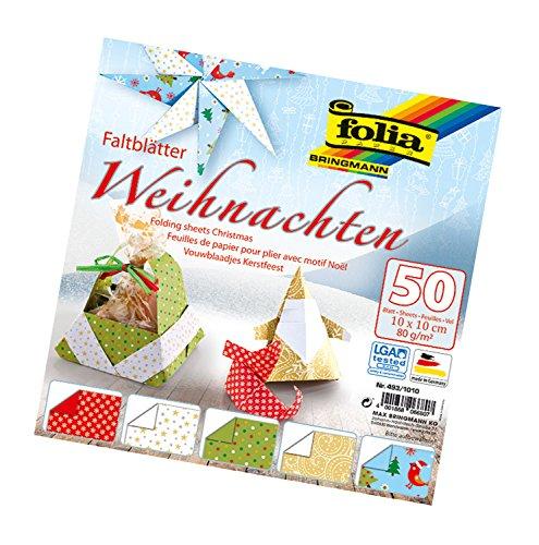 folia Foldersys 493/1010 - Hojas Plegables (10 x 10 cm, 80 g/m², 50 Hojas Surtidas en 5 diseños, Ideal para Hermosas Figuras y Formas Plegables), diseño navideño