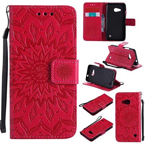 KKEIKO Hülle für Microsoft Lumia 550, PU Leder Brieftasche Schutzhülle Klapphülle, Sun Blumen Design Stoßfest Handyhülle für Microsoft Lumia 550 - Rot