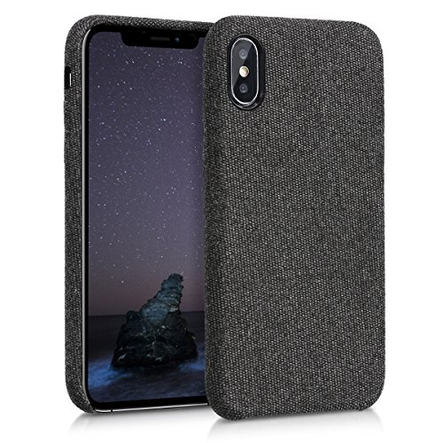 kwmobile Hülle kompatibel mit Apple iPhone X - Stoff Case Handy Schutzhülle - Backcover Cover Schwarz