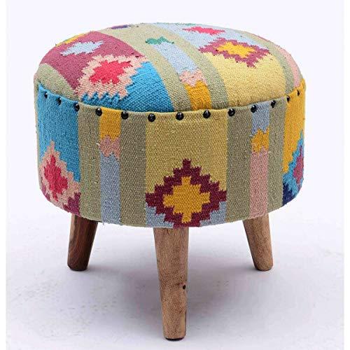 MATHI DESIGN Kilim - Tabouret coloré en Tissu coloré