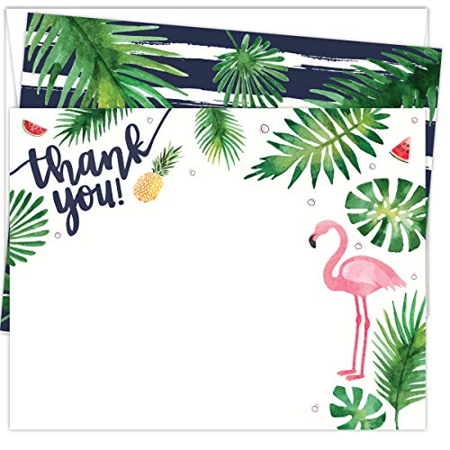 Koko Paper Co Pink Flamingo Thank You Cards | 25 Flat Note Cards and Envelopes | Printed on Heavy Card Stock.