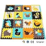 qqpp Tapis de Puzzles – Tapis de Sol épais pour l'éveil de bébé - Puzzle géant aux Motifs Animaux– dès 10 Mois – Lot de 16 Dalles en Mousse Multicolores et 16 côtés Droits éléments pour Tapis de Jeu.