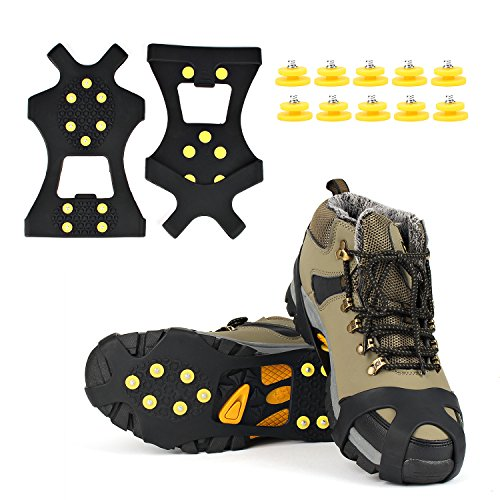 EONPOW Ice Grips, Ice & Snow Grips Cleat Over Shoe/Boot Traction Cleat Rubber Spikes Anti Slip 10...