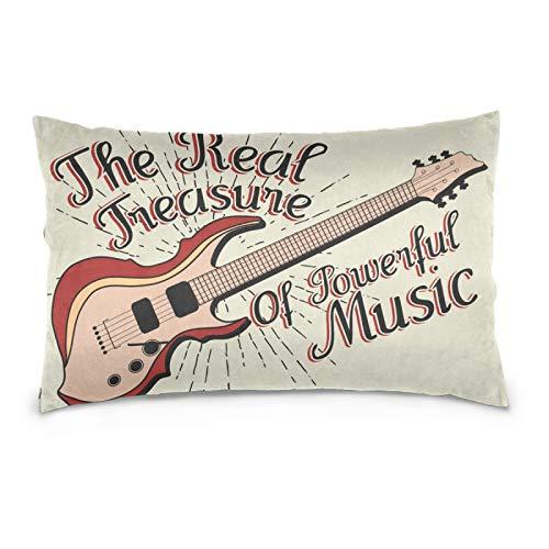 Ahomy Home Decor Pillow case Musical Instrument Guitar 2-Pack Queen Size PillowCases with Hidden Zipper, 50 x 75 cm
