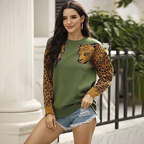 Avsvcb Otoño e Invierno suéter Mujer Moda de Comercio Exterior Europeo y Americano Dos suéter con Cabeza de Leopardo