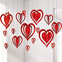 FAVELA Valentine's Day 3D Heart Hanging Foil for Party Decoration, Proposal and Other Celebrations (Pack of 16 Pcs).