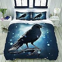 3D プリント 羽毛布団カバーセット,雪のカラス,ティーンズ 男の子 女の子 ツインサイズ 寝室 装飾 1ピース 寝具セット 枕カバー2枚付き,200Cmx200Cm