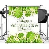 新しい5X7FTハッピーSt.Patrick s日の背景ラッキーアイリッシュシャムロックグリーン四つ葉のクローバー草芝生白い花ボケスパンコール春ビニール写真の背景子供大人写真スタジオ小道具39