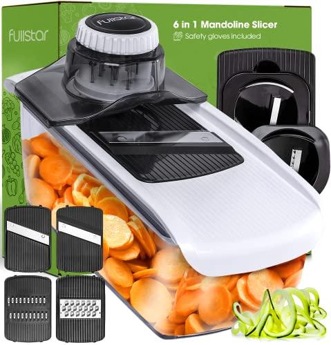 Fullstar Mandoline Slicer Spiralizer Vegetable Slicer - Cheese Slicer Food Slicer 6-in-1 Vegetable Spiralizer Potato Slicer Zoodle Maker BPA-Free...