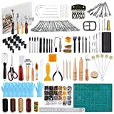 Caydo 428 Pieces Hand Leathercraft Working Tool Kit with an Instructions, Leather Working Supplies with Leather Craft Stamping Tools, Prong Punch, Hole Hollow Punch, Matting Cut for Leather Artworks