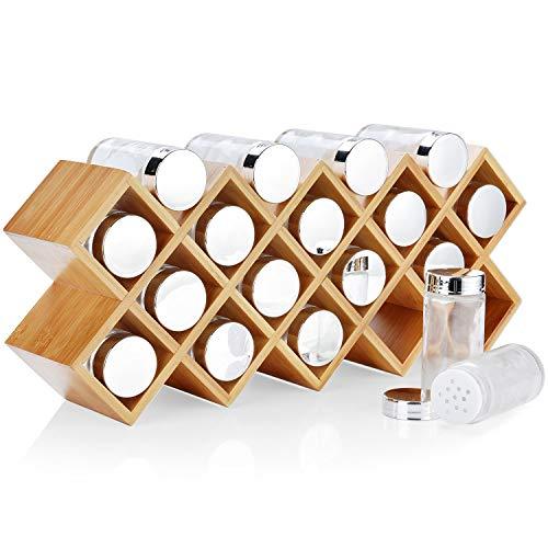 Dispensador de Especias Bambú Harcas con 18 tarros de especias y etiq